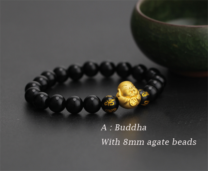 Pure 24K 999 Yellow 3D Gold Smile Buddha Luck Bead Black Agate 8mm Bracelet For Women Men Fashion 1-1.2g 12*13mm 2019 New