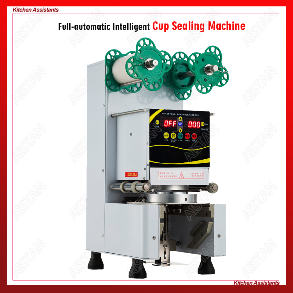 RC995S electric commercial automatic bubble tea cup sealing machine for bar and milk tea shop