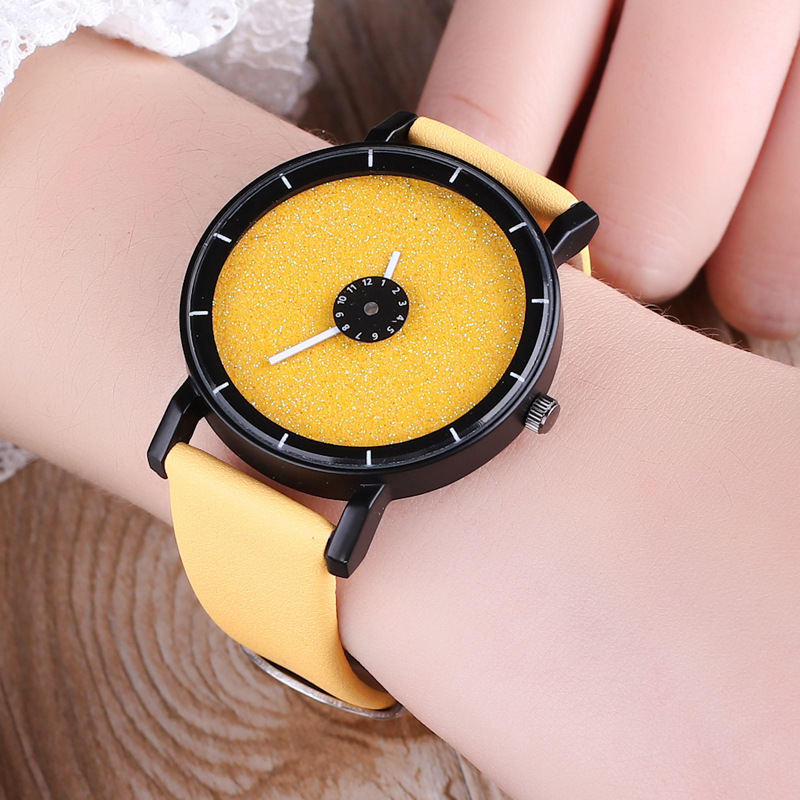 2019 new Fashion Creative wrist watches Turn dial Leather casual quartz watches women men black white clock Couples watch Clock in Lover 39 s Watches from Watches