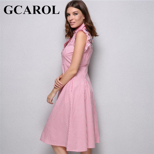 GCAROL New Arrival Floral Embroidery Shirt Dress Sleeveless Ruffles Back Hollow Out Women A-Line Striped Vintage Long Dress