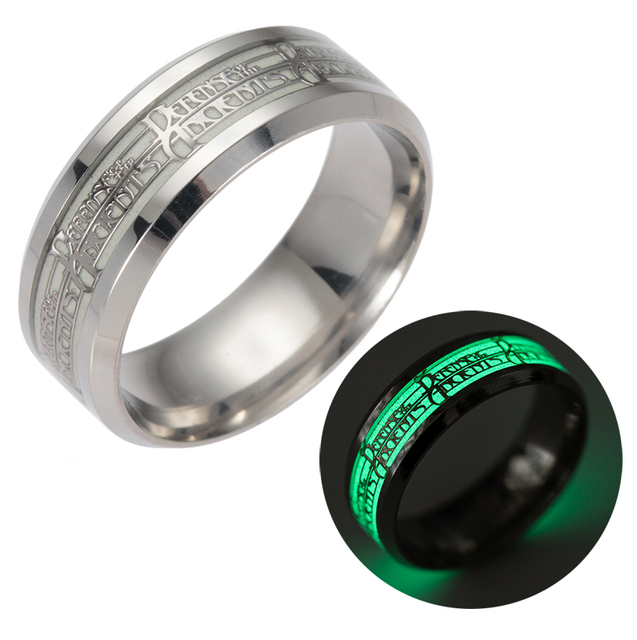 Fashion Stainless Steel Rings for Men Silver Plated Glow In the Dark