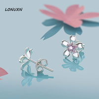 Cherry blossoms shape Purple crystal women Jewelry 1CM Cute 100% 925 Sterling Silver Earrings simple female girls Gift with box