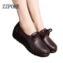 2017 spring and autumn fashion lace mother shoes soft bottom non-slip black work shoes muffin bottom slope with casual shoes
