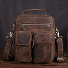 Factory direct approval of leather mens oblique satchel imported head layer mad horse handheld business bag 3552