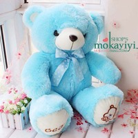blue plush teddy bear toy lovely bow teddy bear doll cute bear toy birthday gift about 80cm