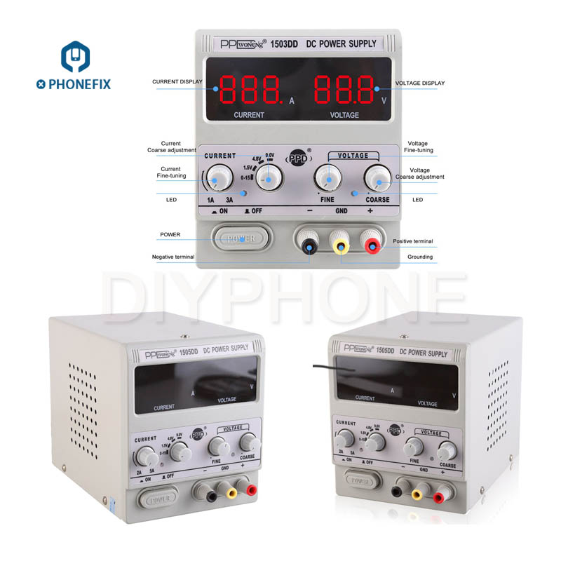 PPD Adjsutable 15V 5A 1503DD 1505DD DC Power Supply Station With Current Voltage LED Digital Display For Phone Repair