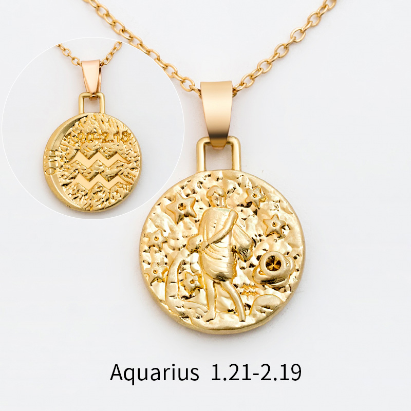 12 Constellation Jewelry Necklace Gold Virgo Libra Scorpio Sagittarius Capricorn Aquarius Zodiac Necklace Circle Pendant bijoux 19