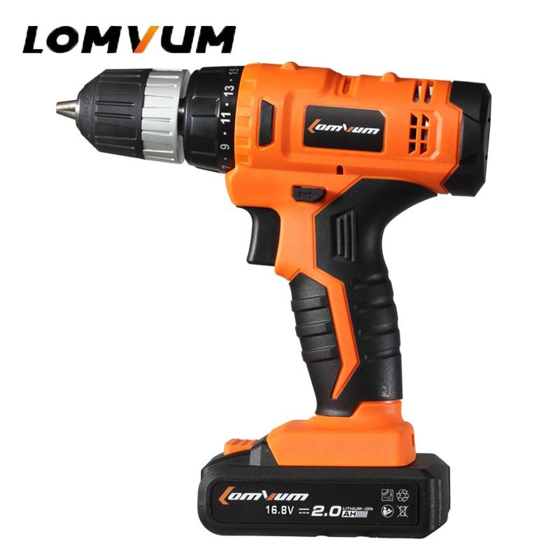 LOMVUM 12V/16.8V/21V Cordless Rechargeable Lithium Battery Electric Screwdriver Mini Drill Kit Screw with LED Light 3600