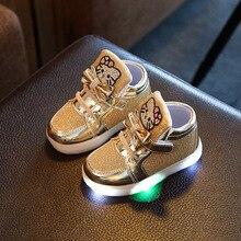 Hot Sale 2017 Princess Girls Kids Sneakers Cute Cartoon Hello Kitty Design LED Light Children Shoes Gold Silver High Top Sneaker