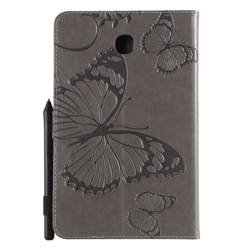 Case For Samsung Galaxy Tab A 8.0 SM-T387 T387 T387V 2018 Cover Funda Tablet Butterfly Embossed Pattern Stand Shell +Stylus+Film