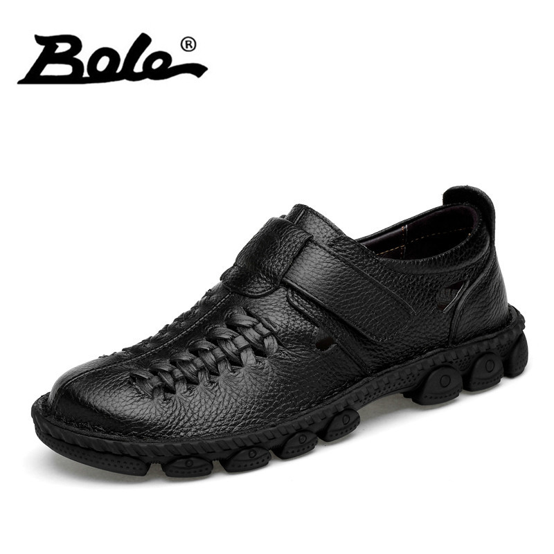 BOLE size 37-45 men breathable genuine leather shoes soft leather sneakers fashion casual shoes for men rubber sole shoes hot sale fashion comfortable men casual shoes soft genuine leather high top zipper thick sole heighten man shoes size 38 44