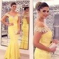 Abendkleider sirena largo Vestido De noche amarillo con Cap mangas Sexy cuello en V sin respaldo árabe mujeres vestidos formales Vestido De Festa