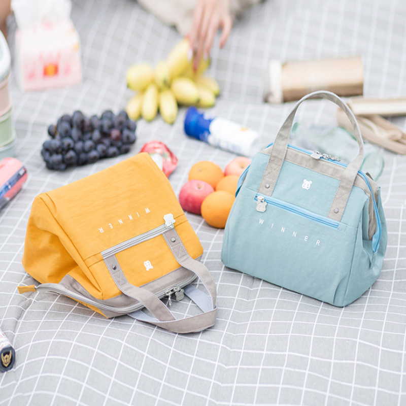 Candy Colors Travel Insulated Lunch Bags Thermo Shoulder Cooler Bags Fresh Keeping Bento Pouch Picnic Thicken Container Zip Tote