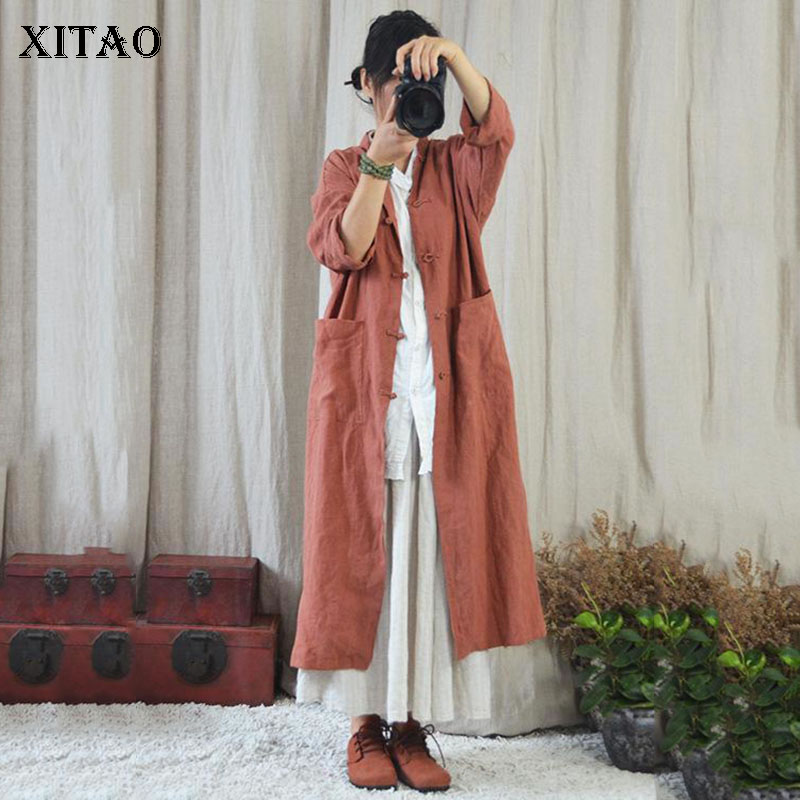XITAO Vintage Cardigans   Trench   Women Korea Fashion Single Breasted Wide Waisted Mandarin Collar 2019 Elegant New ZLL4063