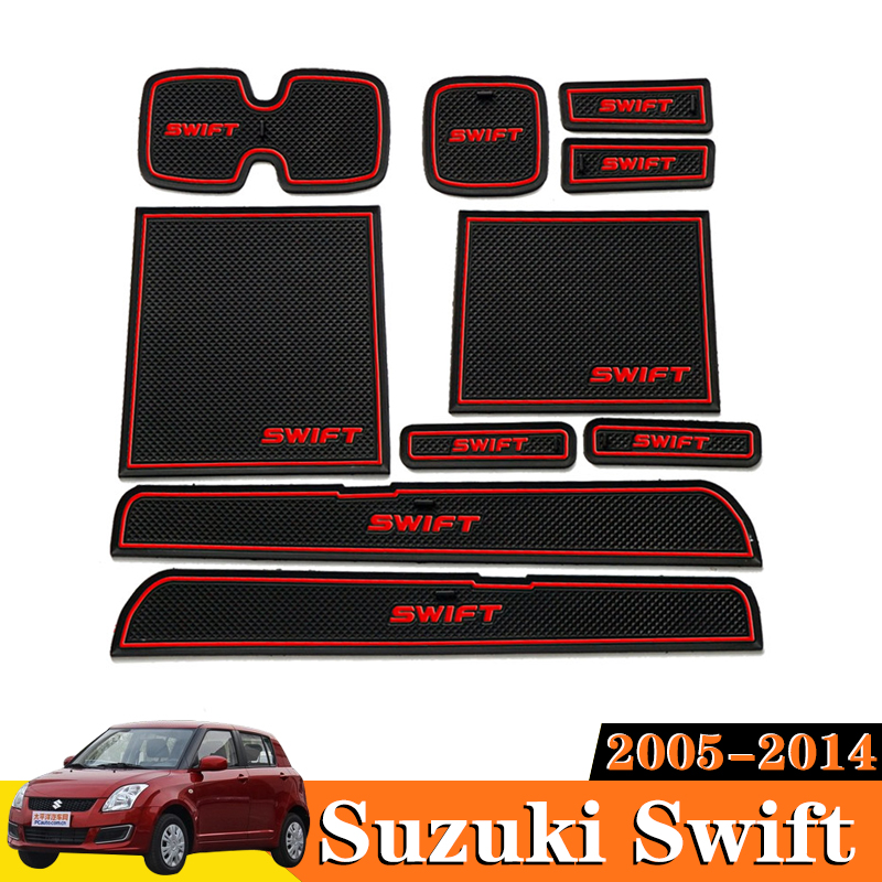 10x Car Accessories Inner Gate Slot Pad Non-Slip Cup Mats Anti Slip Door Groove Mat Interior For <font><b>Suzuki</b></font> <font><b>Swift</b></font> 2005 <font><b>2006</b></font> 2014 image