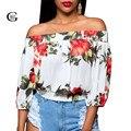 Lace Girl Blusas Femininas 2017 Новый Сексуальный Слэш Шеи Женщины Блузка Повседневная Цветок Печатных Рубашки Половина Рукава С Плеча Топы