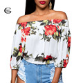 Lace Girl Blusas Femininas 2017 New Sexy Slash Neck Women Blouse Casual Flower Printed Shirts Half Sleeve Off Shoulder Tops