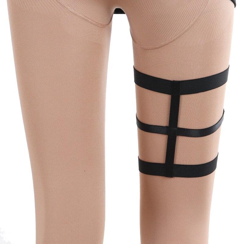 High Quality Body Harness Halloween Black Sexy Garter Belt Bondage Harness Elastic Harness Cage Bra Pentagram Leg Garter Belt in Garters from Underwear Sleepwears