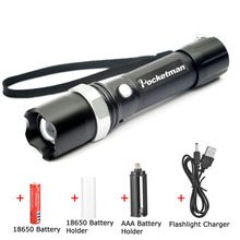 LED Tactical Flashlight 5100 Lumens CREE XM-L T6 Zoomable Lanterna LED Torch Flashlights For 18650 Rechargeable Battery or AAA