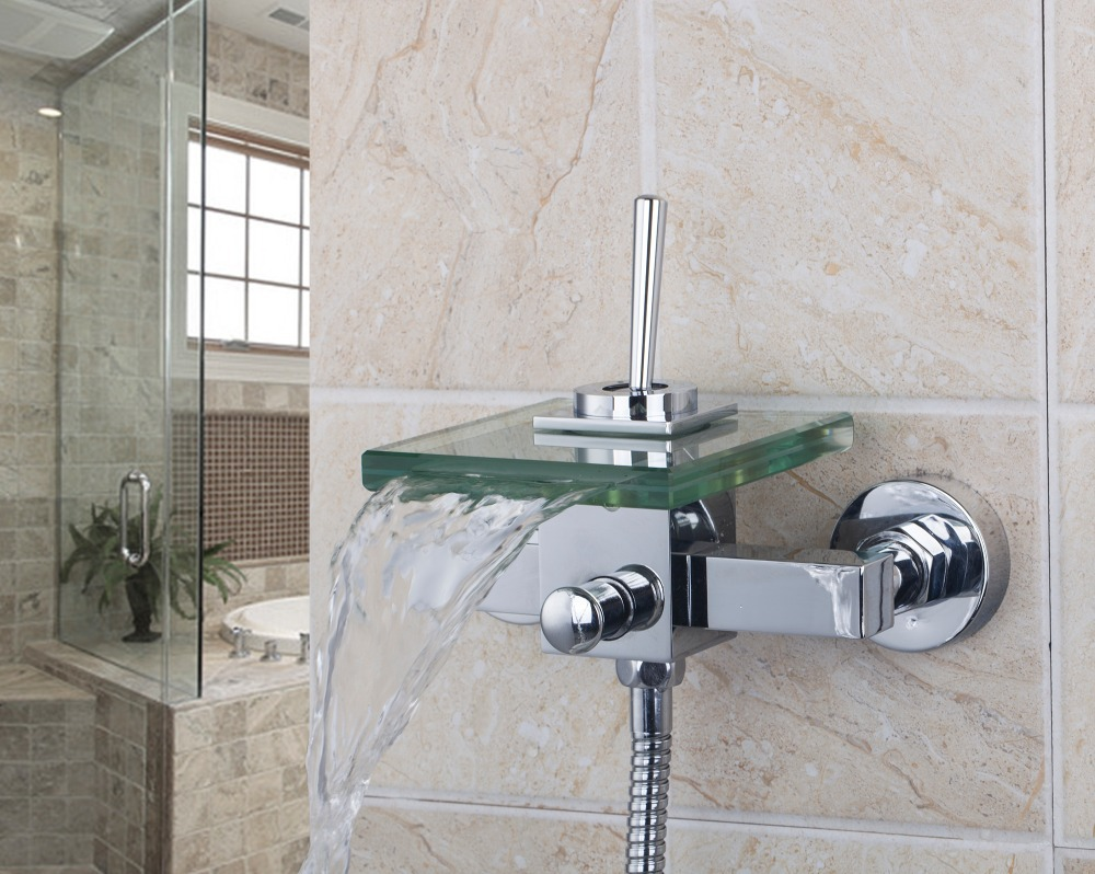 All Around Rotate Swivel Lever 8203/9 Wall Mounted Shower Faucets Waterfall Glass Spout With Handheld Shower Tap Mixer Faucet free shipping polished chrome finish new wall mounted waterfall bathroom bathtub handheld shower tap mixer faucet yt 5333