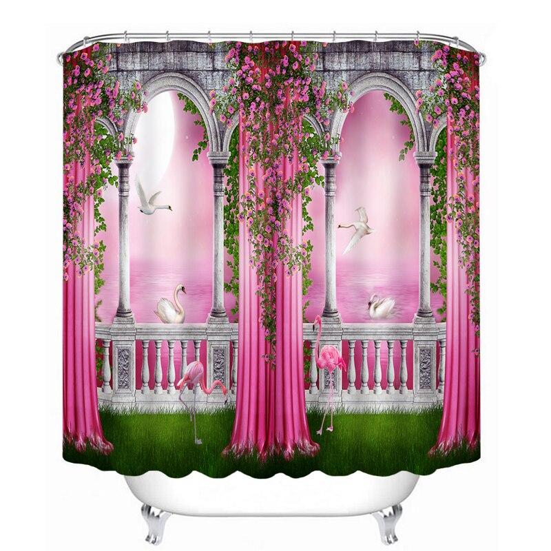 New 3D Shower Curtains Red European Castle Pattern Waterproof ...