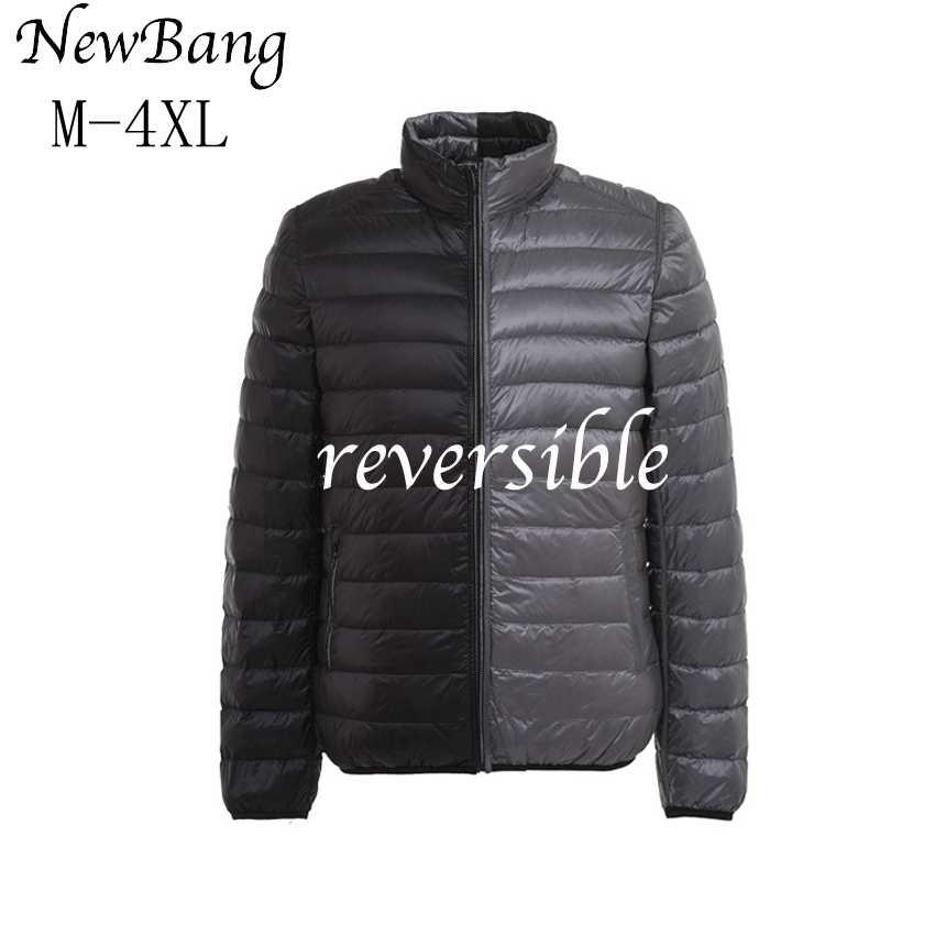 NewBang 브랜드 남성 다운 재킷 울트라 라이트 다운 재킷 남자 가을 겨울 더블 사이드 깃털 가역 경량 따뜻한 파카
