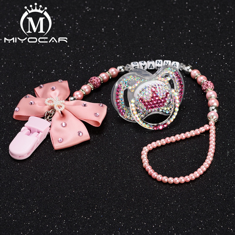 MIYOCAR Any Name Hand Made Bling Crystal Rhinestone Pacifier Clip Dummy Clip Bling Pacifier/ Nipples /Dummy Pacifier Clip Set