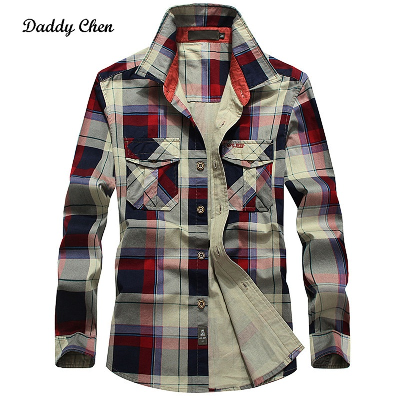 100% Cotton Plaid grid Casual Shirts men Double pocket slim fit dress shirt long sleeves social male shirt Plus size 4XL Chemise