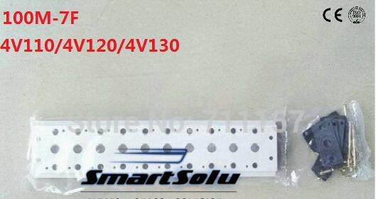 Airtac Pneumatic Solenoid Valve Manifold Base Board With Screws & Rubber 100M-7F 7 Station Row 4v110-06 4A110 4V110 4V120 4V130 4v100 4a100 series 9 station airtac solenoid valve manifold with screws