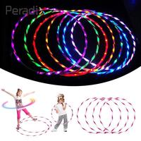 1pc 24 Colorful Light LED Glow Hula Hoop Multicolor Performance Hoop Toys Rainbow Luminous Funny Gadgets