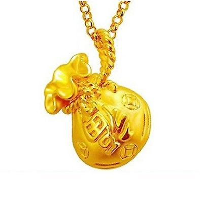 New Arrival Pure 999 24K Yellow Gold Women  3D Bag Pendant 0.5-0.7g Very Small
