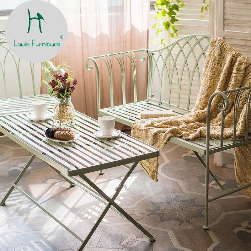 لويس موضة حديقة كراسي بعد الظهر الشاي الحديد الفن أثاث للديكور مزدوج كرسي طوي الشاي في الهواء الطلق فناء كراسي الحدائق Aliexpress