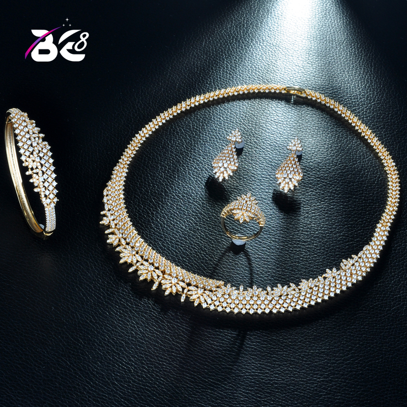 Be 8 Luxury AAA Cubic Zirconia Bride Jewelry Set Leaf Shape Gold Color African Necklace Earring Set forWomen Wedding JewelryS248Be 8 Luxury AAA Cubic Zirconia Bride Jewelry Set Leaf Shape Gold Color African Necklace Earring Set forWomen Wedding JewelryS248