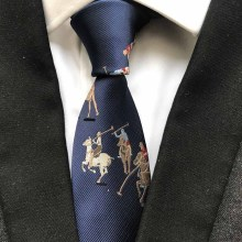 Luxury 100% Silk Necktie Navy Blue with Horse Men Pattern Ties