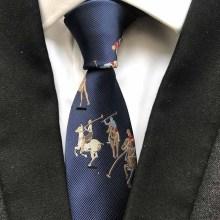 Luxury 100% Silk Necktie Navy Blue with Horse Men Pattern Ties