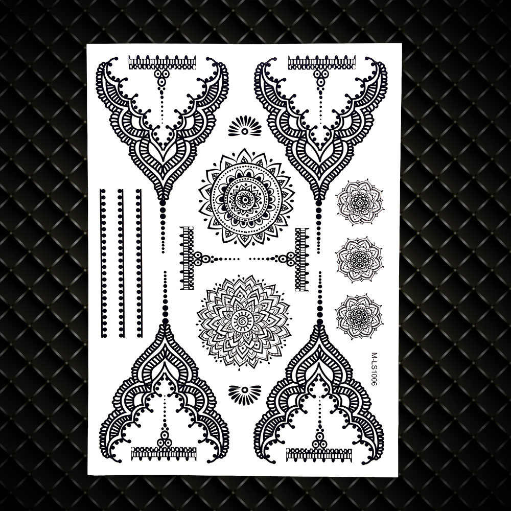 5a2af245c1458 ... Lace Pendants Elephant Waterproof Fake Black Henna Temporary Tattoo  Stickers Women Girl Body Art Legs Under ...