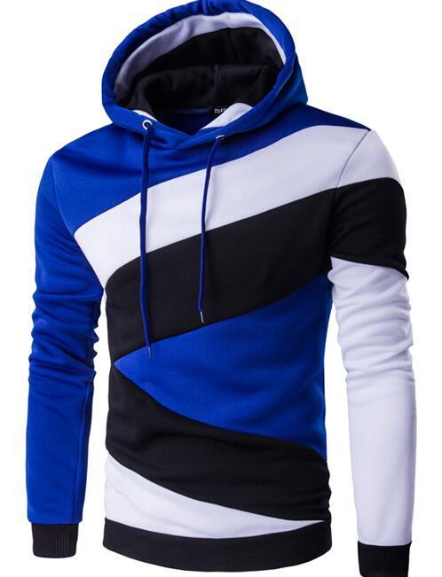 2017 Nuova Primavera Autunno Mens Casual Slim Fit Con Cappuccio Felpe Con Cappuccio Felpa Sportswear Maschile Patchwork Fleece Jacket 7 Colori S-xxl