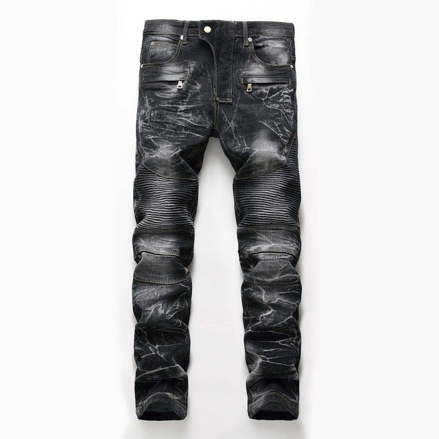 Mcikkny Mens Pleated Biker Jeans Pants Washed Slim Fit Straight Fashion Designer Motorcycle Denim Trousers For Male Multi Zipper
