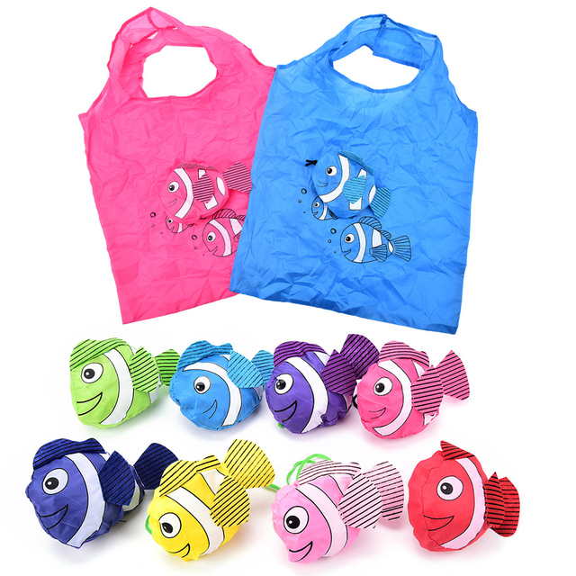 1pcs Eco Foldable Bags Colorful Tropical Fish Reusable Ping Bag Travel Grocery Random