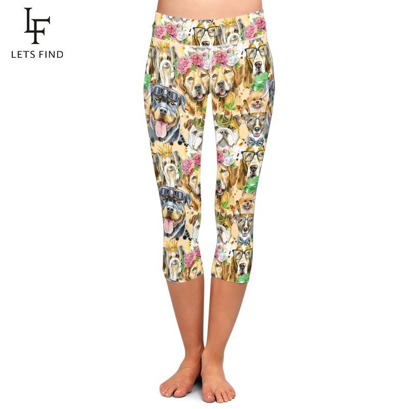 LETSFIND Summer Fashion Women Capri Leggings 3D Cute Dogs Print High Waist Plus Size Fitness Leggings Mid-Calf Pants
