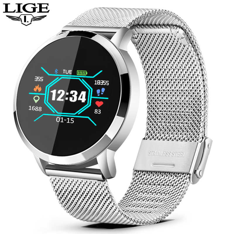 LIGE 2019 New Smart Watch Men Women OLED Screen Heart Rate Monitor Blood Pressure Fitness tracker Sport Watch Smart bracelet