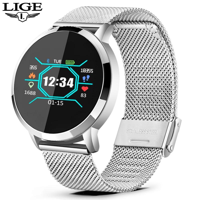 LIGE 2019 nouvelle montre intelligente hommes femmes OLED écran moniteur de fréquence cardiaque pression artérielle Fitness tracker Sport montre bracelet intelligent