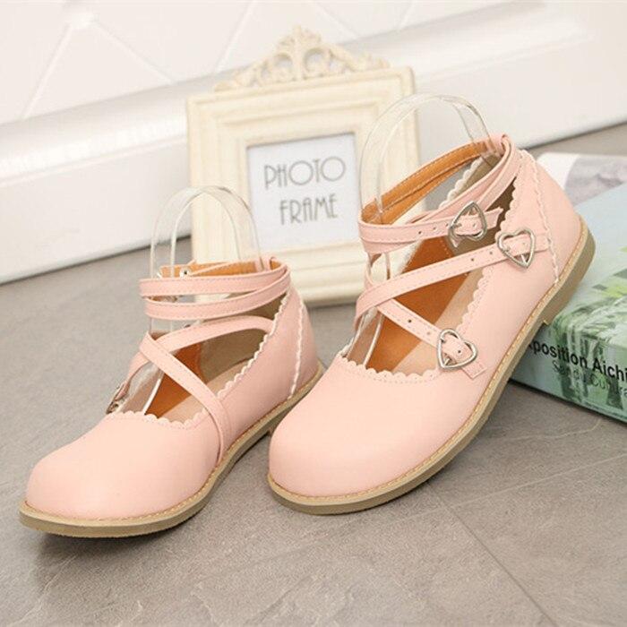 Nuevo japonés Baja Correas Cruzadas Con Té Ronda Chica Princesa Shoes zapatos de