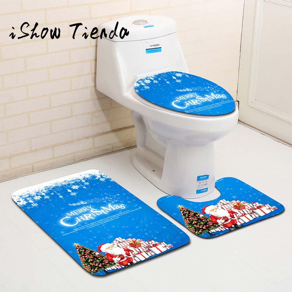 Ishowtoenda 3 pcs fancy santa toilet seat cover dan karpet kamar mandi set natal decor 25 di toilet kursi dari rumah taman aliexpress com alibaba group