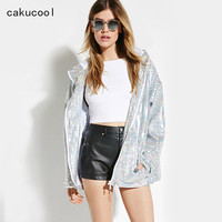 Cakucool Women Shiny Jacket Sequined Bomber Jackets Silver Hooded Zipper Coat Casual Punk Embellish Outerwear Female Plus Size