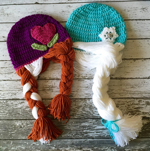 Crochet Anna and Elsa Wig/ Available in Newborn to Child adult hat ...
