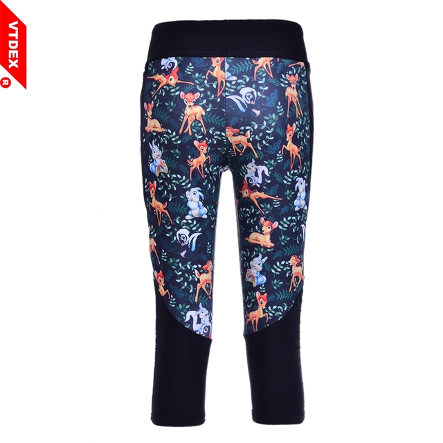 VTDEX Yoga Pants Elastic Calzas Deportivas Mujer Fitness Leggings Capri Deer Forest Pattern Women Sport Tights Capri Running GYM