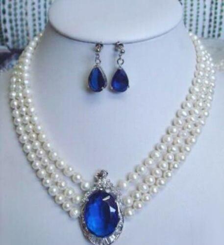 Dubai perles africaines ensemble de bijoux naturel 3 rangées de perles blanches carré autriche pendentif collier boucles d'oreilles Quartz Fine femmes