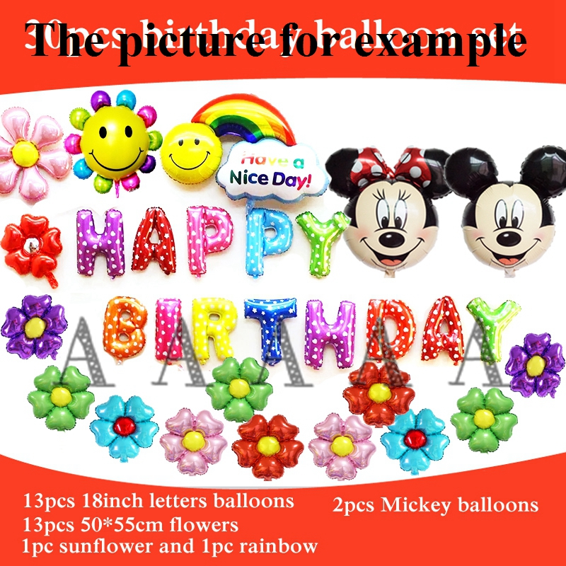 30pcs foil balloons mickey minnie head balloon happy birthday party letters ball