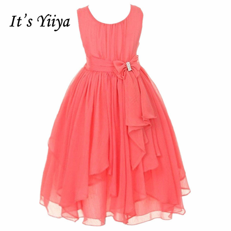 It's yiiya Hot Many Colors   Flower     Girl     Dresses   Tie Bow Princess Ball Grown O-neck Sleeveless Little   Girls     Dress   930